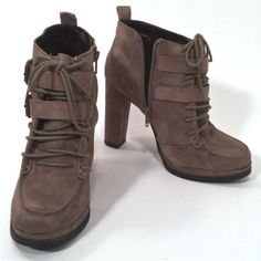 Womens Faux Suede Lace Up High Heels Platform Ankle Boots Shoes Brown Size 9