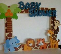 New baby decor pictures shower gifts ideas Baby Shower Frame, Deco Baby Shower, Baby Shower Photo Booth, Shower Bebe, Baby Boy Shower, Baby Shower Gifts, Baby Shower Jungle, Safari Baby Showers, Marcos Para Baby Shower