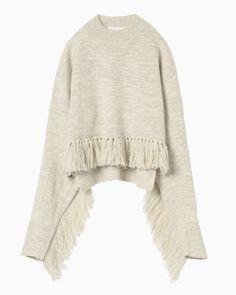 Melange Knit Fringe Sweater - beige                                                                                                                                                                                 More