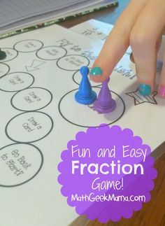 Lots of fun, hands on ideas for exploring fractions, as well as a FREE printable game to practice adding and subtracting!