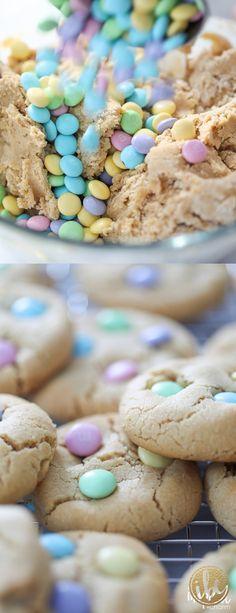 Peanut Butter M&M Cookies - spring Easter dessert recipe