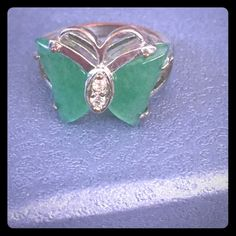 HOST PICKJade Winged Butterfly Ring Beautiful butterfly ring with Jade Wings. Two crystals eyes in a solid silver setting.HOST PICK4/2/16 Pretty, Flirty&GirlyParty. Vintage Jewelry Rings