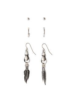 Feather Earring Set | FOREVER21 - 1052288258