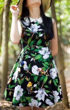 Sweet Flowers Printing Peter Pan Collar Sleeveless Dress