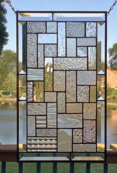 Clear stained glass panel window geometric abstract stained glass window panel window hanging home decor 0428 18 x 11 Stained Glass Door, Stained Glass Designs, Stained Glass Panels, Stained Glass Patterns, Window Hanging, Window Panels, Panel Doors, Room Partition Designs, Glass Partition