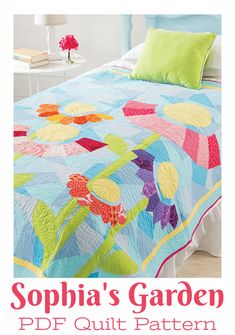 What a lovely quilt for a little girl;s room!  #quilting #quilts #pattern #affiliate #girls #flowers #applique