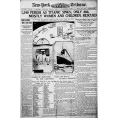 Newspaper New York Tribune 16 April 1912 Titanic headline Canvas Art - (24 x 36)