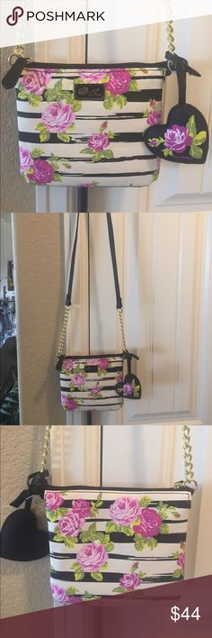 "NEW! BETSEY JOHNSON FLORAL CROSS BODY BAG BRAND NEW!! NWOT! AUTHENTIC BETSEY JOHNSON FLORAL CROSS BODY BAG-Approximate Measurements are 6"" H X 7"" W, with a strap drop of 23"".., Betsey Johnson Bags Crossbody Bags"