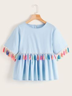 To find out about the Contrast Fringe Button Keyhole Babydoll Blouse at SHEIN, part of our latest Blouses ready to shop online today! Girls Fashion Clothes, Teen Fashion Outfits, Indian Fashion Dresses, Kids Fashion, Girl Outfits, Clothes Women, Style Fashion, Fashion Tips, Stylish Dresses For Girls