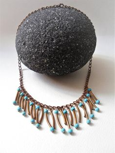 Turquoise Boho Necklace/Copper Chain