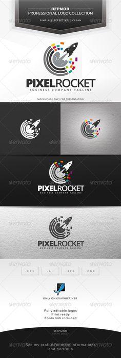 Pixel Rocket - Logo Design Template Vector #logotype Download it here: http://graphicriver.net/item/pixel-rocket-logo/7067828?s_rank=720?ref=nexion