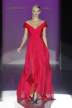 Evening gown, couture, evening dresses, formal and elegant Hannibal Laguna Spring/Summer 2013 red