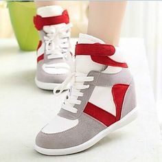 29.99  Women s Shoes Canvas Wedge Heel Comfort   Round Toe Fashion  Sneakers Casual Black   Red   Gray 6b85fe64007f2