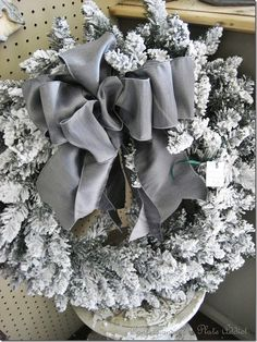 Grey ribbon and silver mercury glass would be a very modern take on Christmas decor.