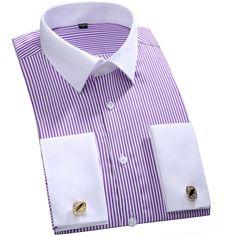 Длинные рукава рубашка Повседневная Для мужчин swear Для мужчин французские  манжеты одежда с длинным рукавом Fit Сорочки выходные для мужчин (з. 885154db4ea