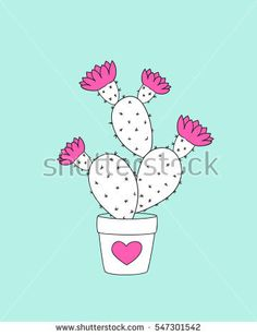 Valentine card with doodle cactus in the flower pot. Image for invitation, save date, wedding, romantic holiday,  print for decorate t-shirt, tunic, bag, wall. eps 10.