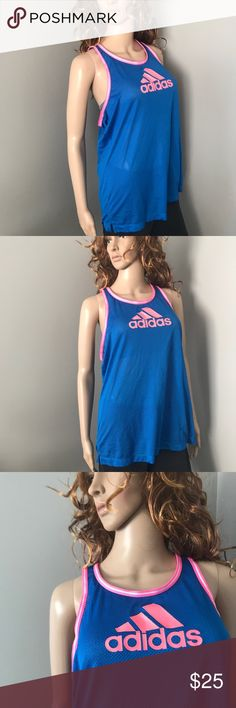 Adidas Mesh Jersey Racerback Tank Top Large Logo Gently used, excellent condition with no stains, holes or rips! All of my items come from a clean, smoke-free home! Please let me know if you have any questions! Also check out my closet for many more items and save when you bundle! I'm also selling a black one in the same style and size! I always consider offers! adidas Tops Tank Tops