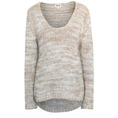 BEL AIR PARIS casual chunky knit tan scoop neck belair sweater T 2 / Medium #BelAIr #ScoopNeck #Casual