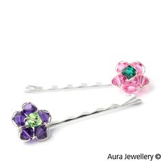 Pink Green Handcrafted Swarovski Crystal Flower Hair Slides
