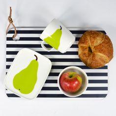 Finnish artist Maija Isola's pop art inspired print from the still resonates worldwide today. The Päärynä print features juicy pears, in a simplistic yet colorful fashion. Marimekko, Pears, Colorful Fashion, Dinnerware, Pop Art, House Design, Inspirational, Interiors, Inspired