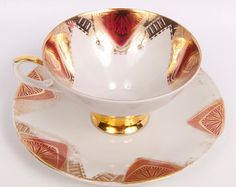 reserved for Amber Vintage Stafford China Teacup And Saucer Gold Trim Floral…