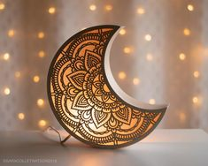 Limited Edition Mandala M - Moon Light Lamp, Light Art, Ramadan Crafts, Ramadan Decorations, Kids Room Lighting, Room Lights, Lampe Crochet, Lamp Cord, Islamic Pictures