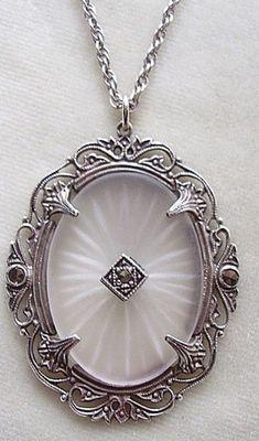 Art Deco, camphor glass, filigree, pendant, necklace, marcasite