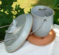 Pottery Bird Feeder MAYBE USE THIS LID STYLE FOR HOUSES