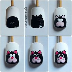 34 Ideas Nail Art Diy Disney Nailart For 2019 Cat Nail Art, Animal Nail Art, Cat Nails, Nail Art Diy, Nail Art Dessin, Trendy Nail Art, Nagel Gel, Creative Nails, Nail Tutorials