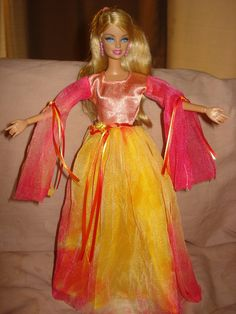 SALE - Beautiful Renaissance style fire inspired formal for Barbie Dolls - ed207. $18.95, via Etsy.