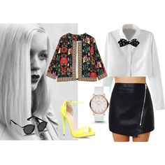casual chic by maia-ratiu on Polyvore featuring Carvela Kurt Geiger, MARC BY MARC JACOBS, Abercrombie & Fitch, GE, casual, chic and bowtie Carvela Kurt Geiger, Abercrombie Fitch, Casual Chic, Marc Jacobs, Leather Skirt, Skirts, Polyvore, Style, Fashion