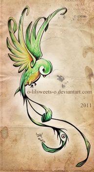 Sweet swirly bird tattoo idea.