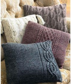 Aran-cushions-Knitting-pattern-Aran-wool-choice-of-4-cushions-on-1-pattern