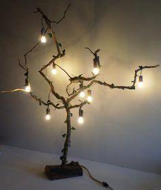 Деревання LED напольный светильник из элементов вяза и акации, ручная работа