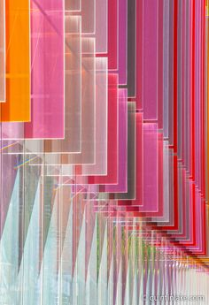 Coloured glass fins of Oxford University Biochemistry Building, Oxford, UK.