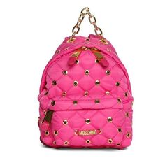 Moschino Nylon Backpack With Brass Logo and Details ($430) ❤ liked on Polyvore featuring bags, backpacks, fuchsia, pink bag, moschino, logo backpacks, backpacks bags and quilted nylon bag