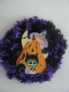 Witch's Wreath halloween pumpkin frog cat purple black by loisling