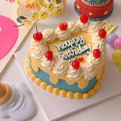 Pretty Birthday Cakes, My Birthday Cake, Pretty Cakes, Beautiful Cakes, Blue Birthday, Birthday Cake Decorating, Happy Birthday, Korean Cake, Pastel Cakes