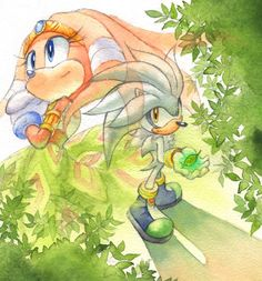 Girl from the ancient past.boy from apocalyptic future. I like that idea! Hedgehog Art, Sonic The Hedgehog, Sonic Adventure, Silver The Hedgehog, Echidna, Tikal, Sonic Art, Beautiful Pools, Science And Nature