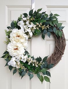 White Floral Wreath with Peonies on Grapevine | Fall Spring and Summer Wreath | Neutral Off-White Fr