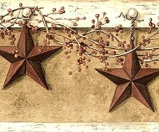 Country Hanging Star Wallpaper Border Primitive Rustic Decor