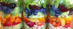 Harvest Rainbow Mason Jar Salad with Creamy Pesto Dressing (fruit, white beans, pesto) Avocado Vinaigrette, Pesto Salad, Salad In A Jar, Salad Bar, Cooking Recipes, Healthy Recipes, Free Recipes, Healthy Food, Pesto Dressing