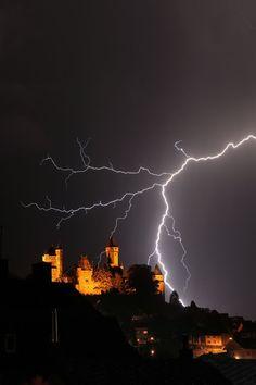 Lightning over Braunfels, Germany, photo by Oliver Stiehler