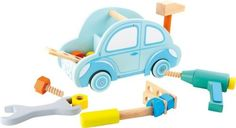 Kinder-Werkzeugkiste-Auto-Holz-Schrauben-Hammer-Bohrmaschine-Motorikspielzeug
