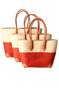Half Orange Raffia Bags