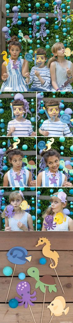 #Poolparty #Oceanparty #MakeItFun at www.LiaGriffith.com (under the sea/mermaid party photo booth ideas)