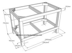 How to make a heavy and sturdy workbench frame. More like a table frame, but perfect to use as a workbench. Making A Workbench, Workbench Plans Diy, Folding Workbench, Wooden Pallet Projects, Wooden Pallets, Homemade Tables, Door Furniture, Wooden Shelves, Woodworking Tools
