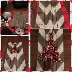 DIY Ornament Christmas tree on top of Chevron painted pallet wood. One of my all time favs that I've done.