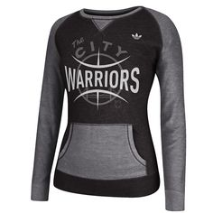 "GOLDEN STATE WARRIORS ADIDAS WOMEN'S ""THE CITY"" PULLOVER CREW - BLACK"