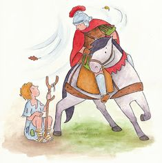 Sonja Häusl-Vad Illustrations: 26-Sep-2015 Fete Saint Martin, Hl Martin, St Martin Of Tours, All Souls Day, Catholic Crafts, All Saints Day, Catholic Saints, Disney Characters, Fictional Characters